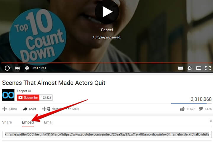 embed a youtube video on your website