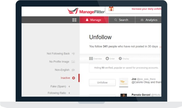Manage Flitter unfollow inactive accounts option