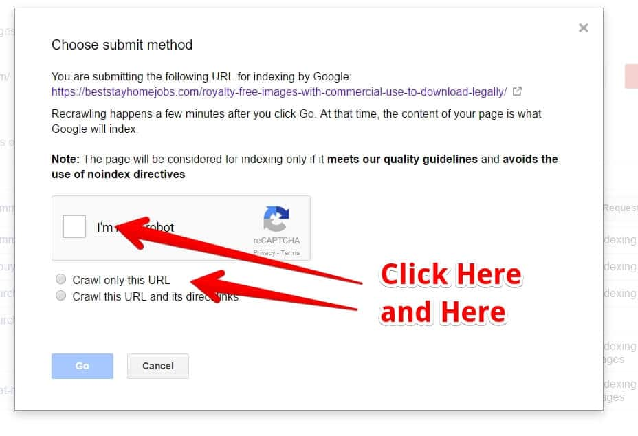 How to Submit A Blog Post To Google Search Console - Click Im Not a Robot and Select Crawl Only This URL