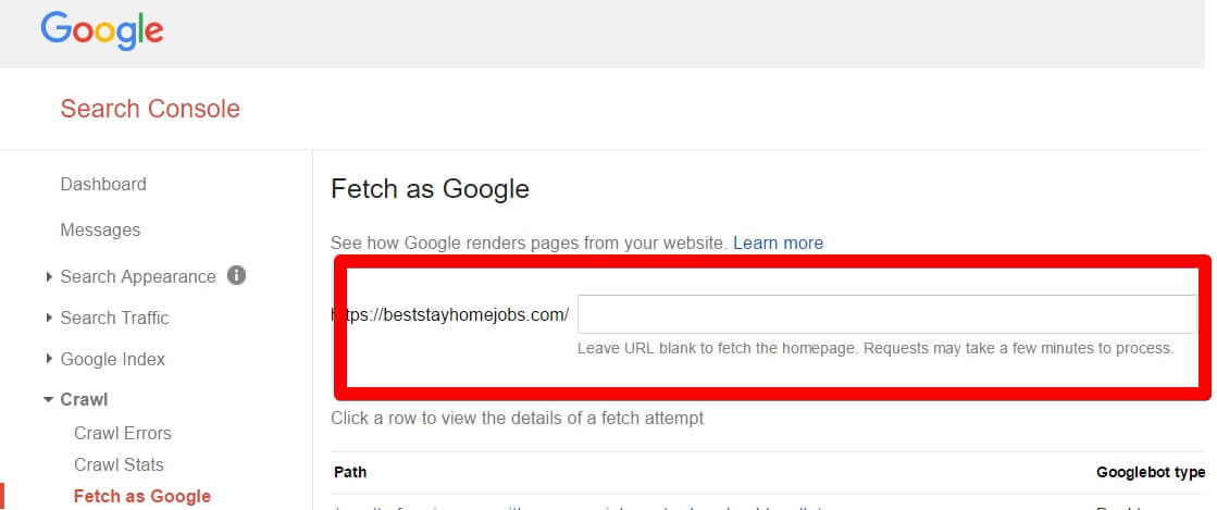 How to Submit A Blog Post To Google Search Console - The Box Where You Enter Your URL