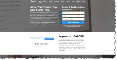 Jaaxy Keyword Research Tool Home Page