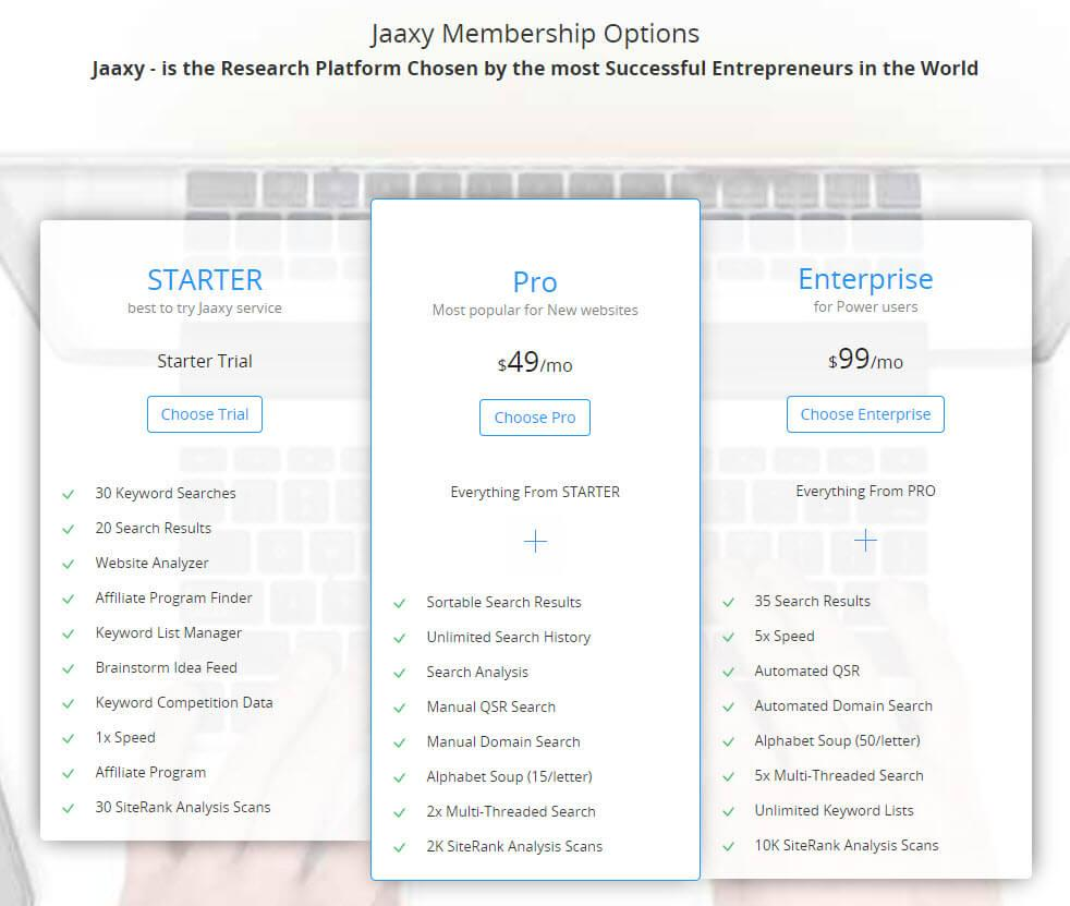 What is a Keyword Research Tool - Jaaxy Pricing