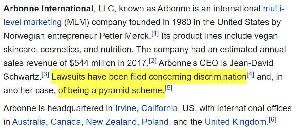 Arbonne MLM Review - WikiPedia Article About Arbonne MLM