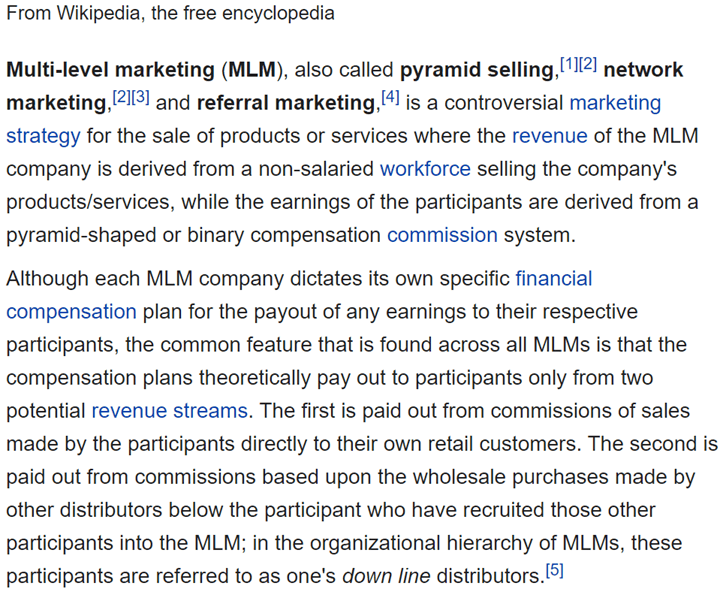 Monat MLM Review - Definition of Multi-Level Marketing from WikiPedia