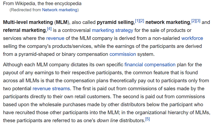 Young Living MLM Review - Wikipedia Definition of Multi-Level Marketing