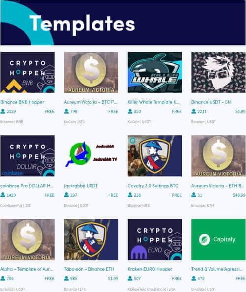 Templates can be found in the CryptoHopper Marketplace