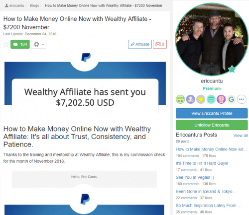 Erics Success with Wealthy Affiliate
